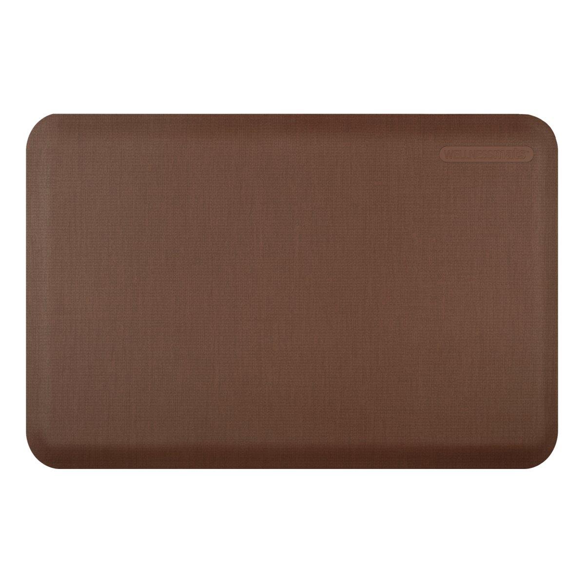 WellnessMats Anti-Fatigue 36 Inch by 24 Inch Linen Motif Kitchen Mat, Brown