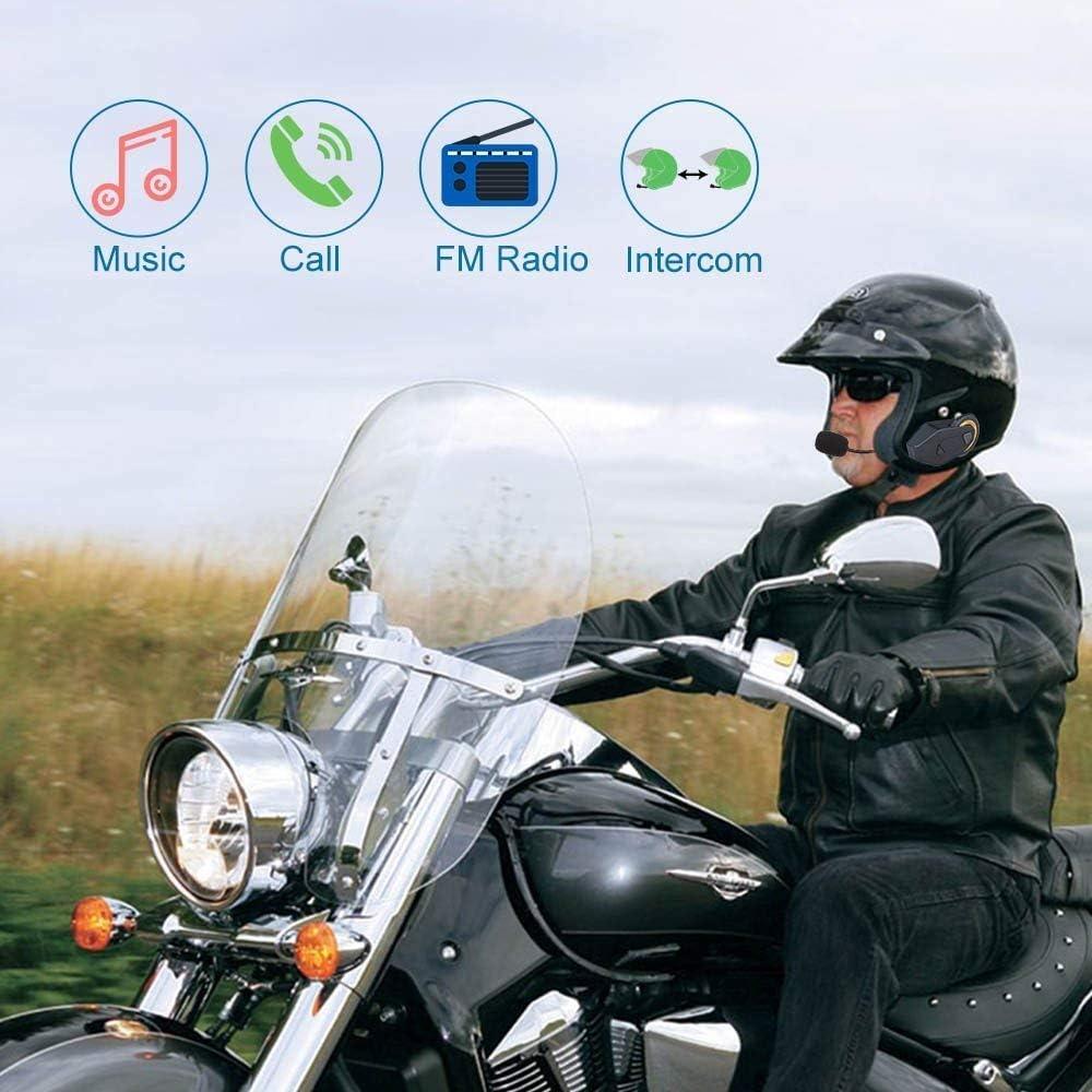 T-MAX 6 Riders 1000M Full Duplex Helmet Headset Microphone Interphone Communication System FreedConn 2 PACK Group Helmet Intercom Bluetooth Headset for Motorcycle Team FM Radio//Handsfree//Waterprof
