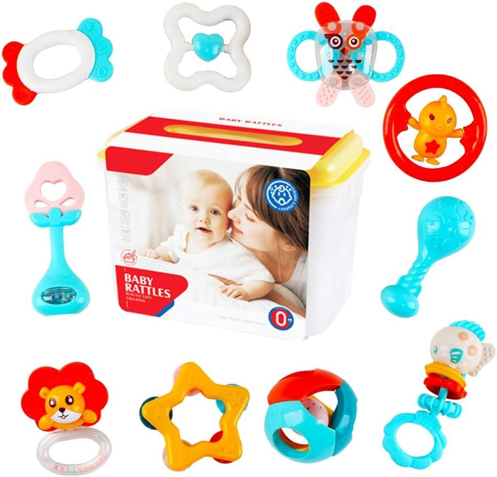 deAO Conjunto de 10 Sonajeros y Mordedores para Bebé con Diseño Adorable Juguete Sensorial para la Etapa de Dentición Fabricado con Materiales Suaves y Seguros Incluye Caja de Almacenamiento