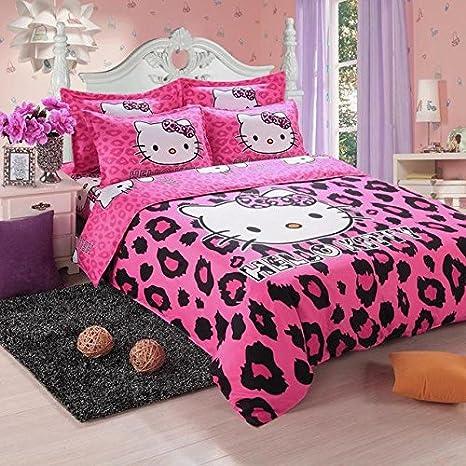 HITSAN Hello Kitty Bedding Set Children Cotton Bed Sheets Hello Kitty Duvet  Cover Bed Sheet Pillowcase