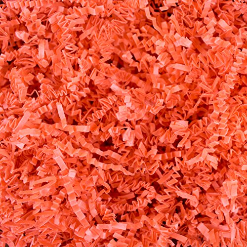 Crinkle Cut Shredded Paper 1/2 Pound - Shred Gift Basket Filling and Packing by Emerald Craft & Hobby (Orange)