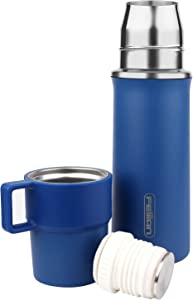 FEIJIAN Thermos Add-A-Cup Water Bottle Insulated Vacuum Stainless Steel Beverage Bottle for Hot & Cold Drink, Coffee Travel Mug Thermal -Leakproof Build-in Lid Cup Integrated Handle, 21 OZ, Blue