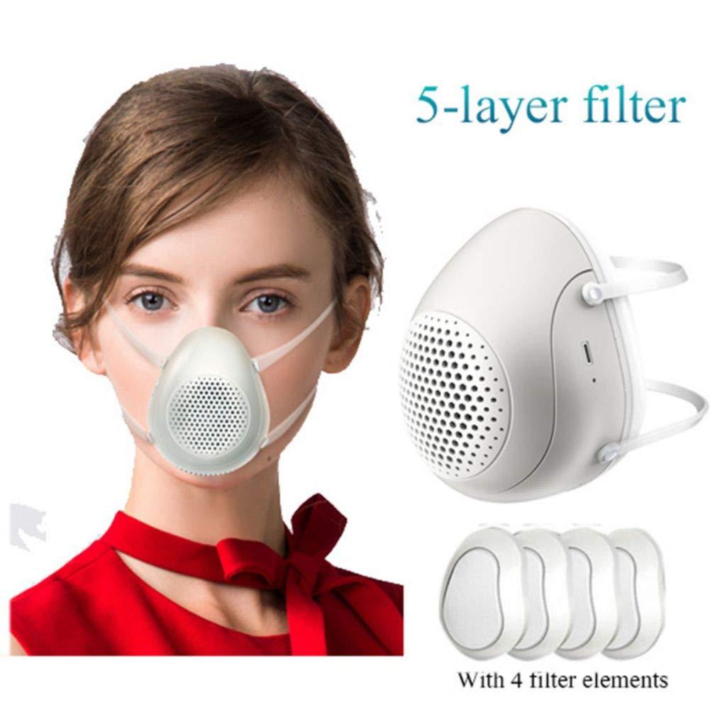 Máscara eléctrica Qianren con 4 almohadillas de filtro de repuesto, recargable, reutilizable, 99% de efecto de filtro, 1 almohadilla de filtro durante 3 semanas la más larga