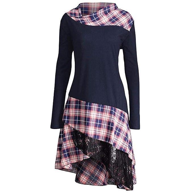 OverDose mujer Irregulares De Encaje Casual Vestido De Moda Panel De Tela Escocesa Barato MáS Despacho