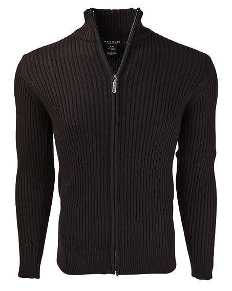 Marquis Men's Full Zip Ribbed Mock Turtleneck 100% Cotton Cardigan ...