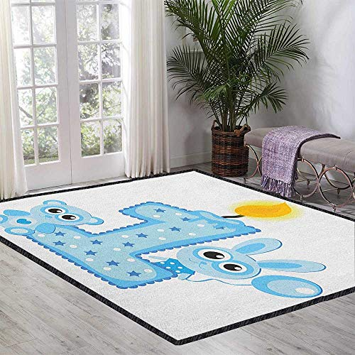 1st Birthday Non-Slip Area Rug Pad,Boys Party Theme with a Cake and Candle Rabbit and Bear Animals No Chemical Odor Baby Blue and Pale Blue 55