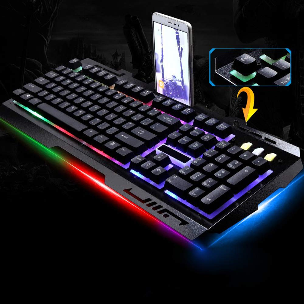 Hisoul G700 LED Rainbow Keyboard, 104 Keys Color Backlight USB Wired Keyboard with Mouse - for LOL/PUBG/Fortnite/Wow/Dota/OW Gamer (Black) by Hisoul (Image #5)