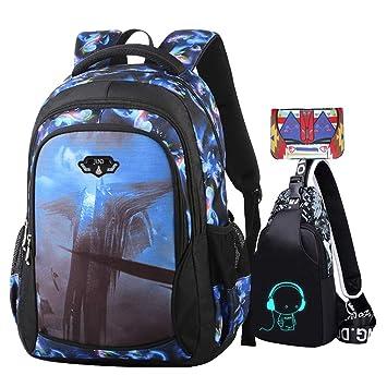b0c347254bd75 JUND Oxford-gewebe Schulrucksack für Jungen Schulrucksack Druck Rucksack  Jugendlichen Schultasche Outdoor Reflektierender Daypack (