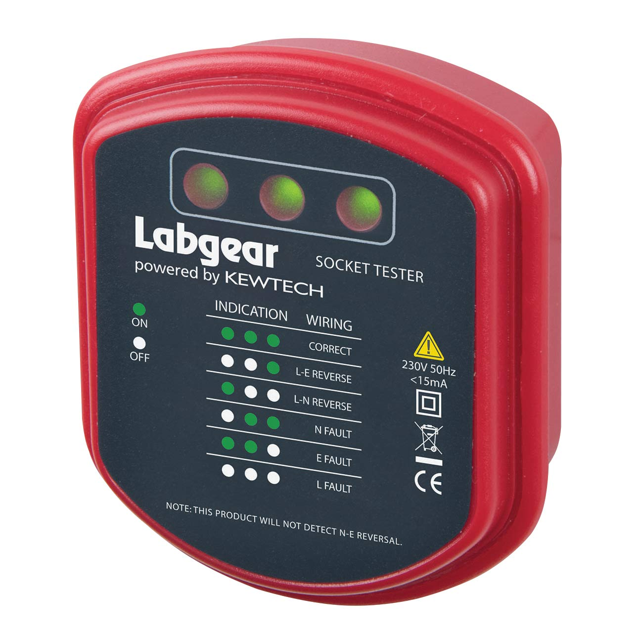 Neutral /& Earth Wiring Labgear Socket Tester UK Mains Plug In Electrical Tester Live