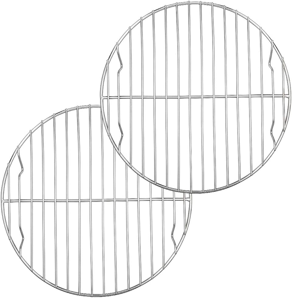 9 Inch Round Canning Steaming Racks, E-far Stainless Steel Round Baking Cooling Rack Set of 2, Multi-Purpose for Air Fryer Pressure Cooker, Dishwasher Safe