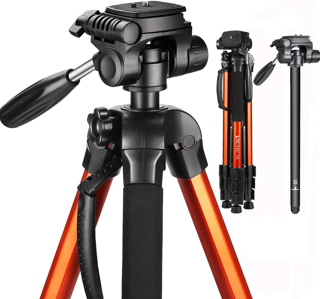 Victiv Aluminum Camera Tripod with Carry Bag, 2-in-1 Tripod Monopod for DSLR with 3-Way Swivel Pan Head and 9lbs Load for Travel and Work - Orange