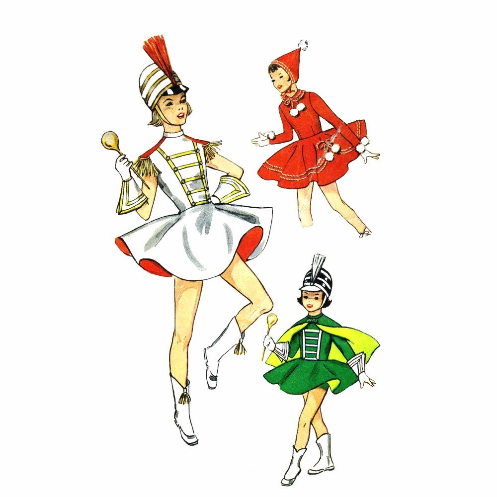 1950s Girls Majorette Skating Outfit Simplicity