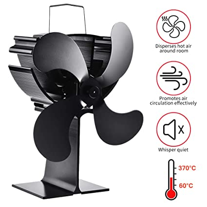Lacyie Ventilador de Chimenea,Calor Powered Ecologico Ventilador de 4 Aspas para Estufa Quemador de