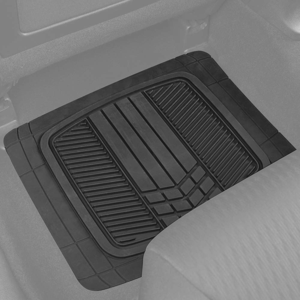 Motor Trend MTX101 Blue DualFlex Two-Tone Rubber Car Floor Mats for Automotive SUV Van Truck Liners Channel Drainer All Weather Protection