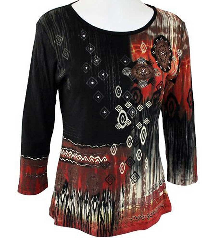 Marietta Soul Abstract 3/4 Sleeve Womens Top, XL
