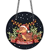 TheYaYaCafe Christmas Gifts Decoration Ornaments Cute Reindeer Xmas Time Wall Door Hanging - 11x11 inches