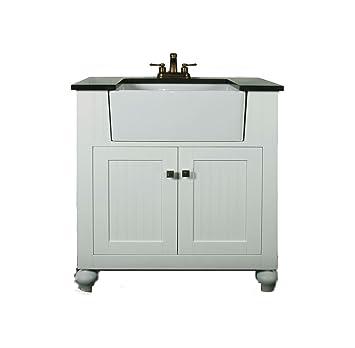 Legion Furniture WLF6022 W 30u0026quot; Farmhouse Apron Style Single Sink  Bathroom Vanity, White