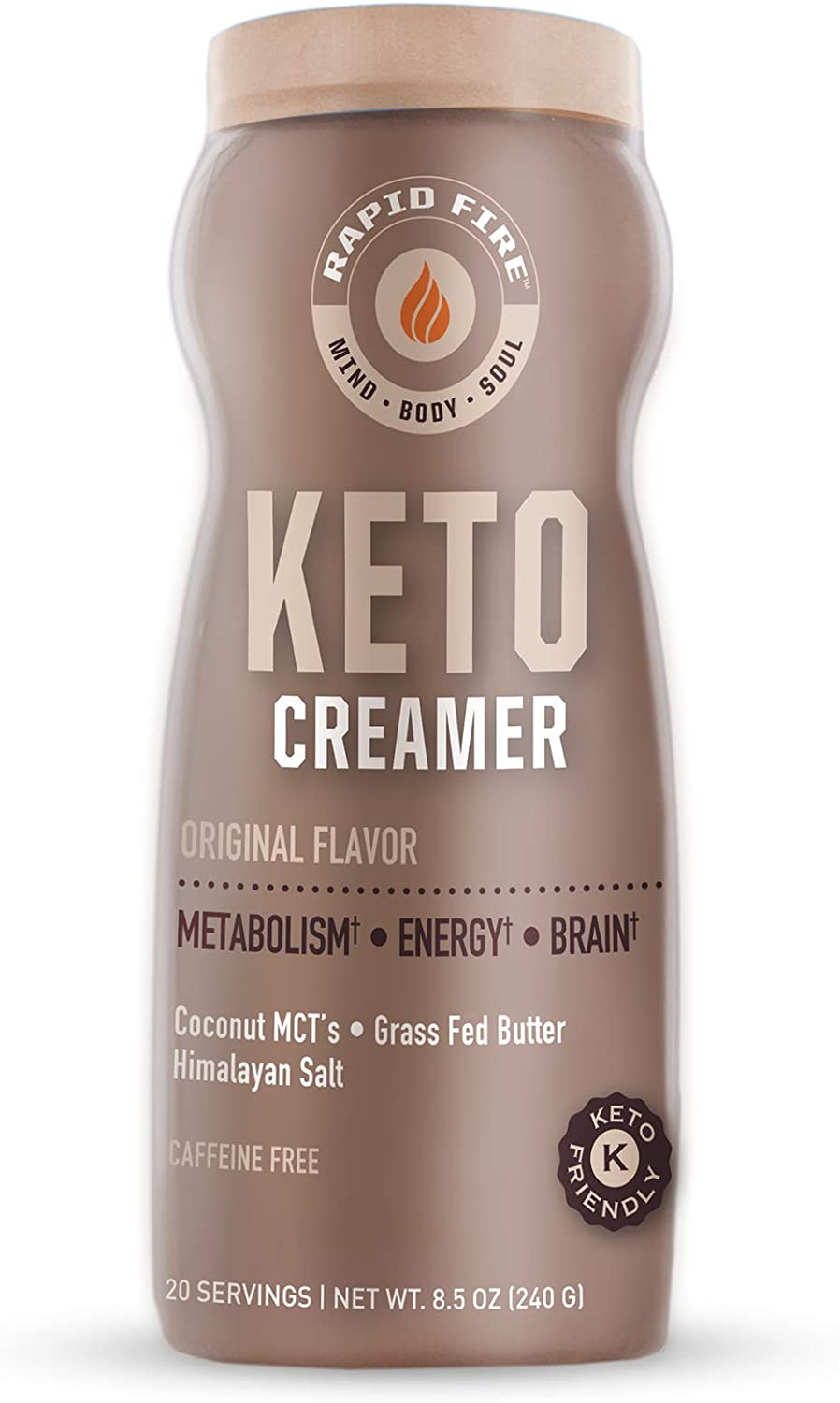 Rapid Fire Ketogenic Creamer with MCT Oil for Coffee or Tea, Supports Energy and Metabolism, Weight Loss, Ketogenic Diet 8.5 oz. (20 servings)