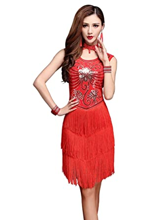e88aead58d6 Z X 1920s Gatsby Sequin Deco Fringed Flapper Latin Dance Dress 4 Pieces  Outfits Medium Red