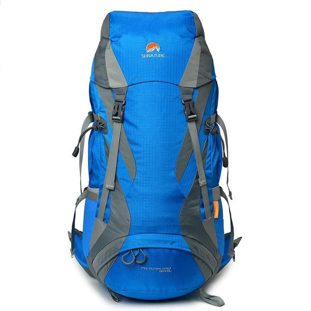 アウトドアバックパックハイキングレジャー旅行乗馬キャンプバックパックポリエステル着用大容量防水通気性ファッションスポーツバッグ配布レインカバー B07T6ZJB7W blue