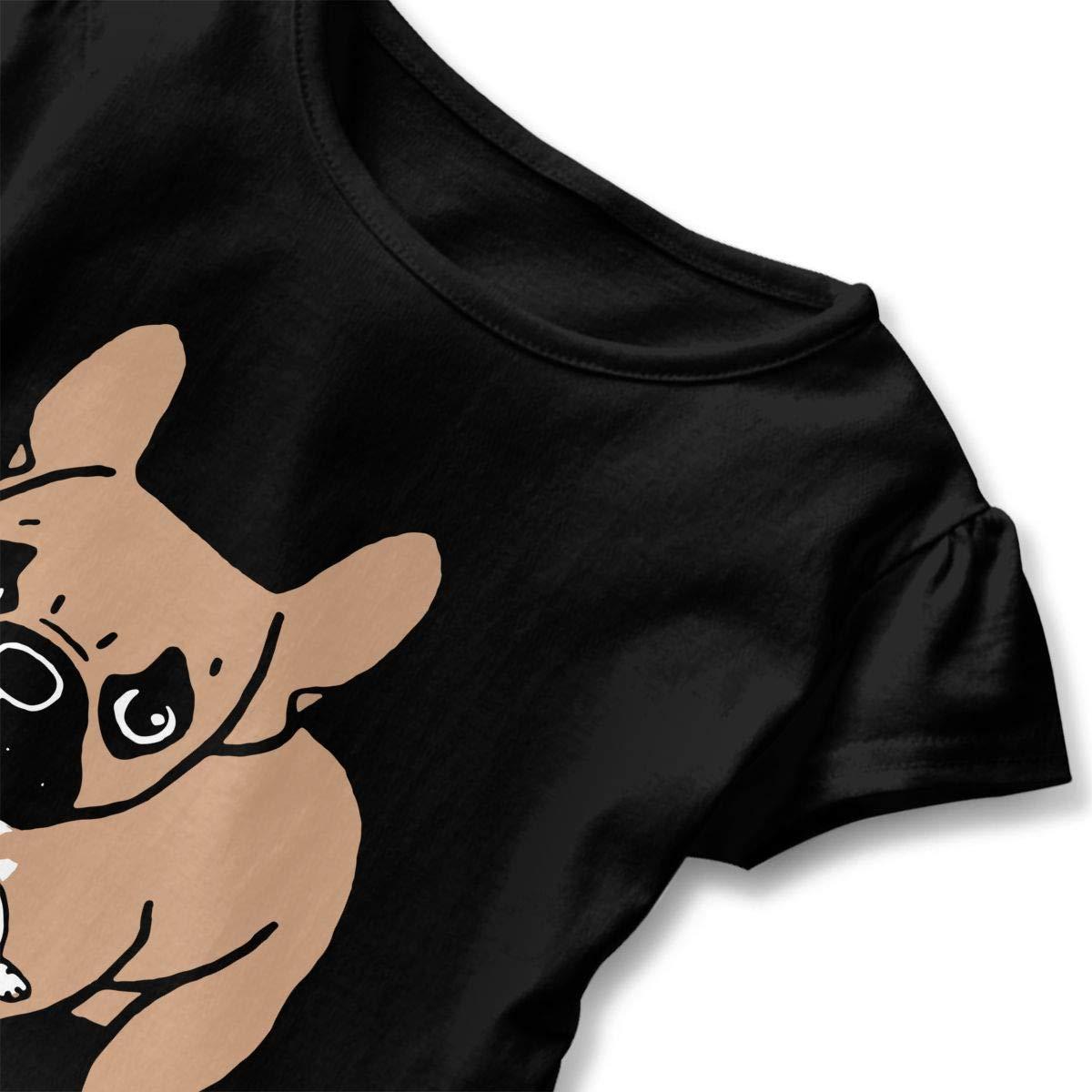 French Bulldog Drunking Juice Kids Girls Short Sleeve Ruffles Shirt Tee for 2-6 Toddlers
