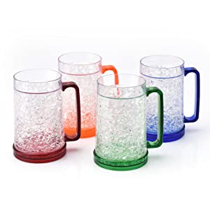 Double Wall Gel Freezer Beer Mug - Frosty Mugs Freezable Drinking Cups with Handle, Classic Style for Enjoying Beer, Juice, Soda at Parties, Outside Activity(Set of 4, Each for 15 oz)