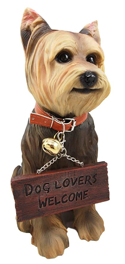 dog garden statue. Atlantic Collectibles Yorkie Dog Garden Statue 12.5\u0026quot;H Yorkshire Terrier Figurine With Jingle Collar And