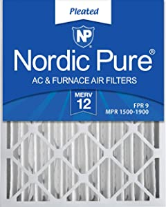 Nordic Pure 16x24x4 (3 5/8) MERV 12 Pleated AC Furnace Air Filters, 2 Pack, 2 PACK, 2 PACK