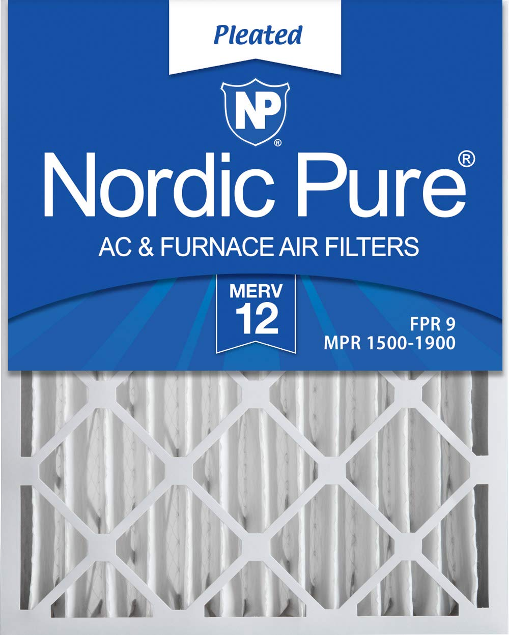 Nordic Pure 16x20x4 (3-5/8 Actual Depth) MERV 12 Pleated AC Furnace Filter, Box of 2 by Nordic Pure