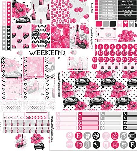 Love Taxi, Planner Calendar Sticker Kit, 6 sheets on matte removable. Happy Planner and Erin Condren sizes. Kiss cut, just peel and stick.