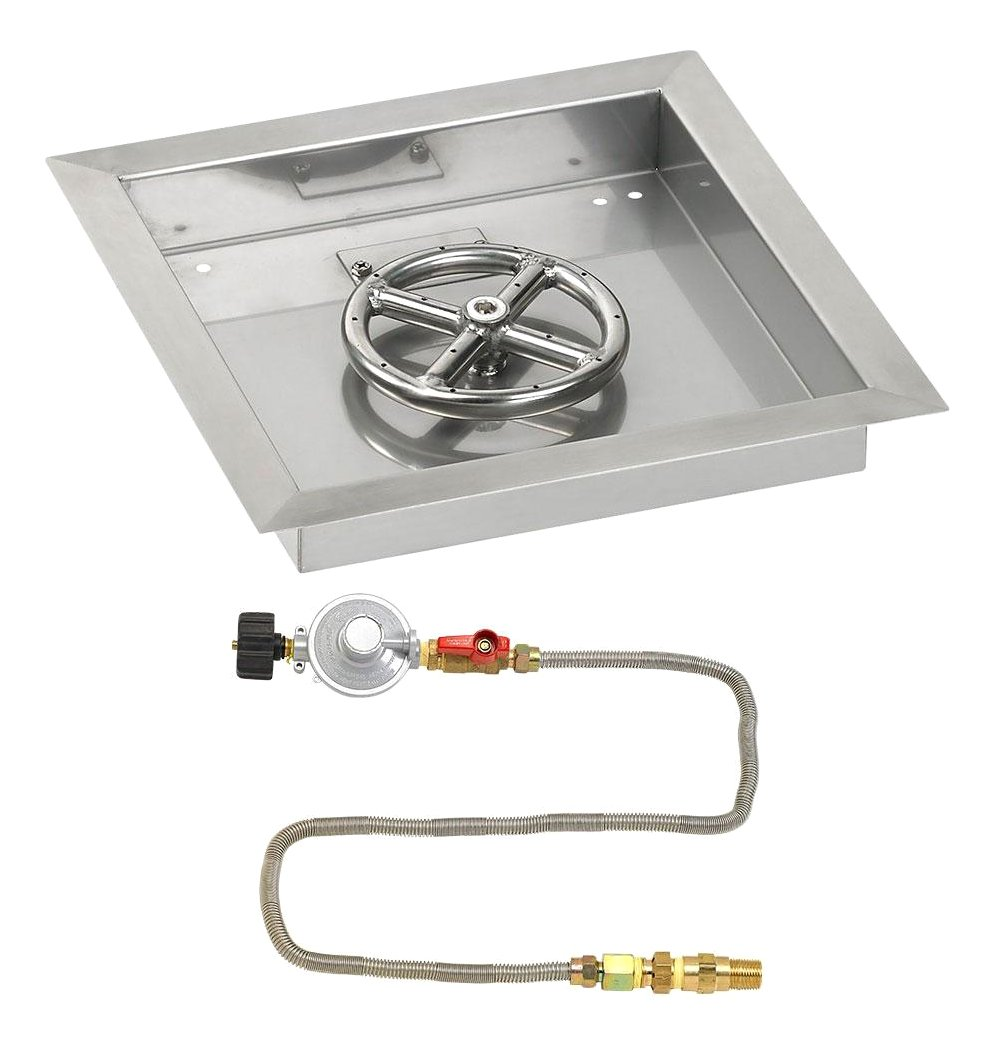 American Fireglass 12'' Square Stainless Steel Drop-In Pan with Match Light Kit (6'' Fire Pit Ring) Propane by American Fireglass