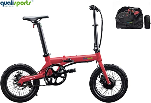 Qualisports Nemo Folding Electric Bicycle Free Carry Bag 16 Ebike 7Ah Lithium-ion Battery, 36V 250W Hub Motor, Max Speed 16 MPH, 25 Miles, 4 Riding Modes Hybrid Bikes for Adults Red