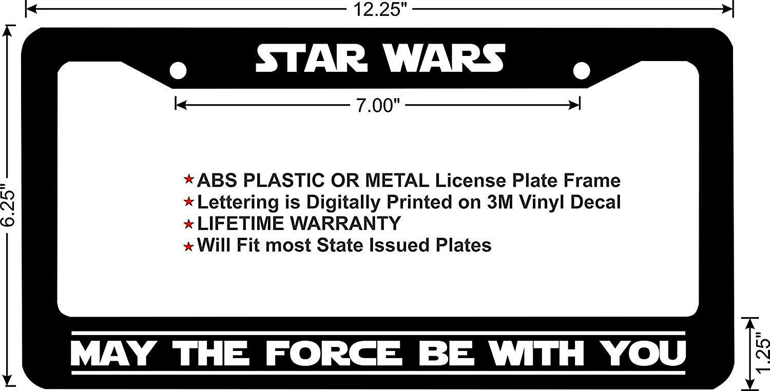 LOHIGHH Star Wars May The Force Be with You Custom Black License Plate Frame Metal 12 X 6