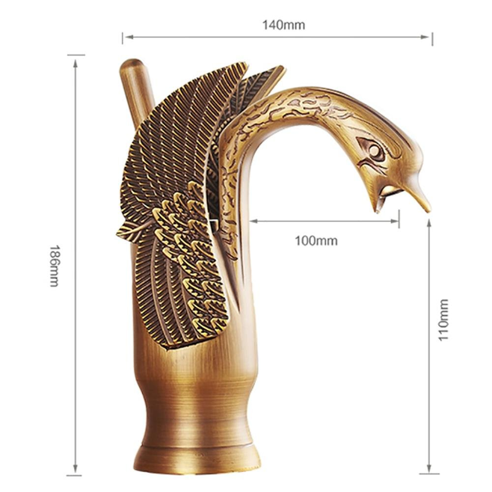 SLT Antique Brass Swan Shape Single Lever Bathroom Sink Faucet Mount Mixer Tap Ceramic Valve