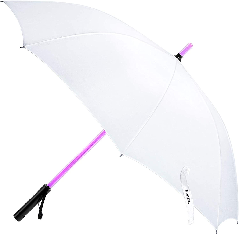 Paraguas LED con diseño de Espada láser, Color Negro, Pantalla de Star Wars con 7 Colores y Linterna integrada Blanco Blanco Large