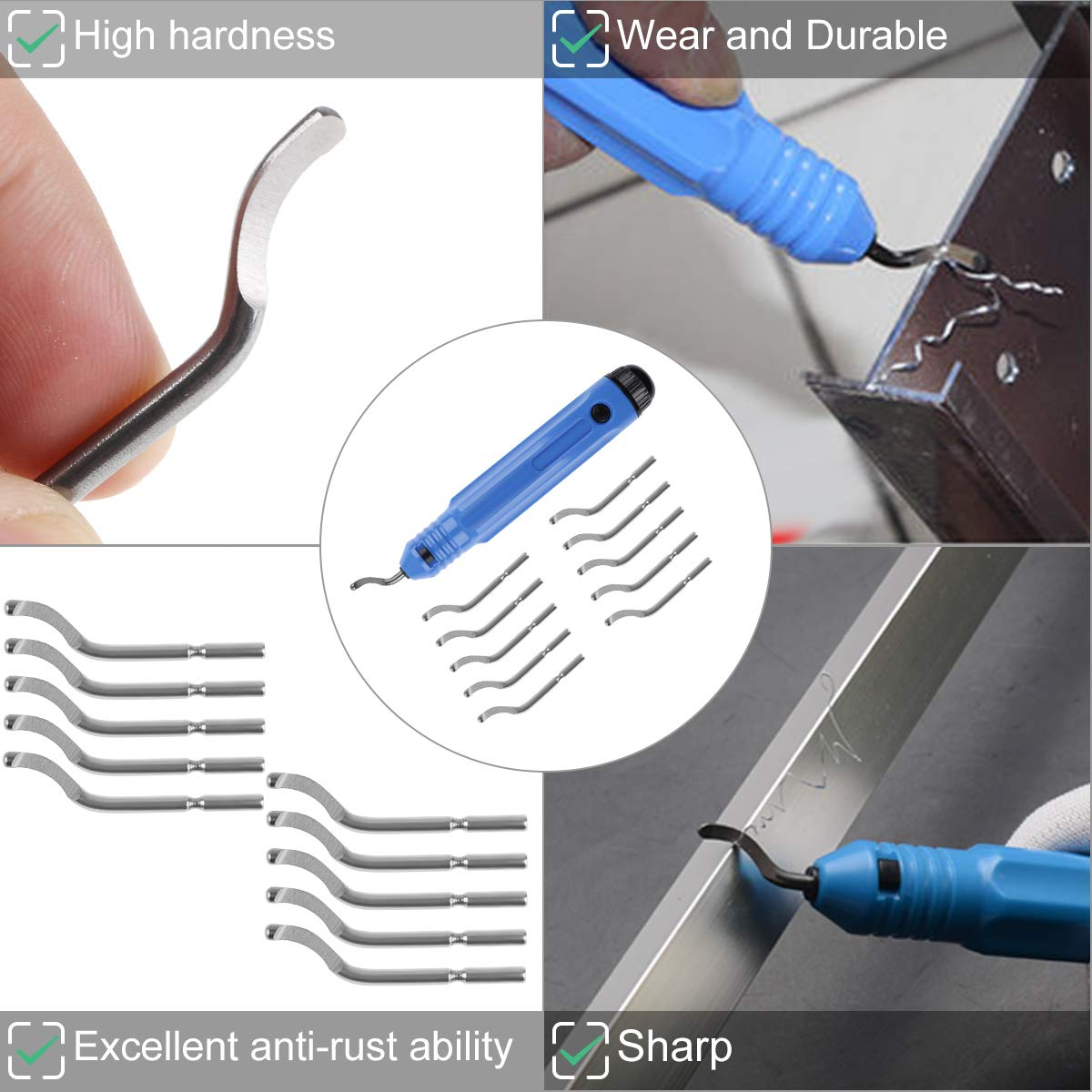Great Burr Remover Hand Tool for Wood//Plastic//Aluminum//Copper and Steel Deburring Tool Kit 10pcs Rotary Deburr Blades Set Without Handle Blades