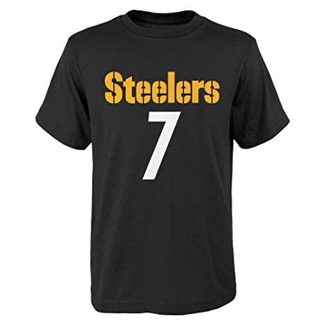 4710147d2bb Outerstuff Pittsburgh Steelers Ben Roethlisberger  7 Youth Black Mainliner  Name and Number T-Shirt