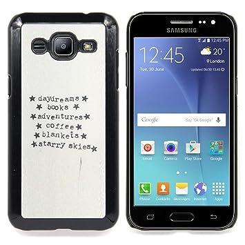 """For Samsung Galaxy J2 / J200 Case , Máquina de escribir Papel Aventura Estrellas texto"""""""
