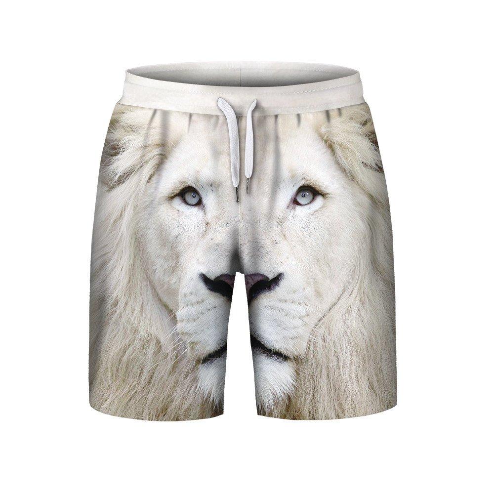 Clearance Sale Farjing Men's Summer Casual Plus Size 3D Printed Beach Shorts Pants(M,White)