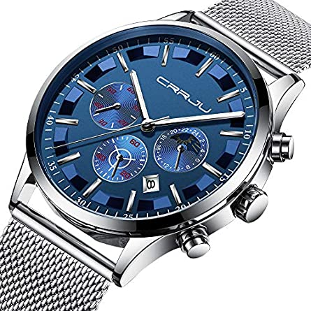 CRRJU Luxury Men Mesh Band Watch Fashion Multi-Function Chronograph 30M Waterproof Wristwatch with Date and Moon Phase Display