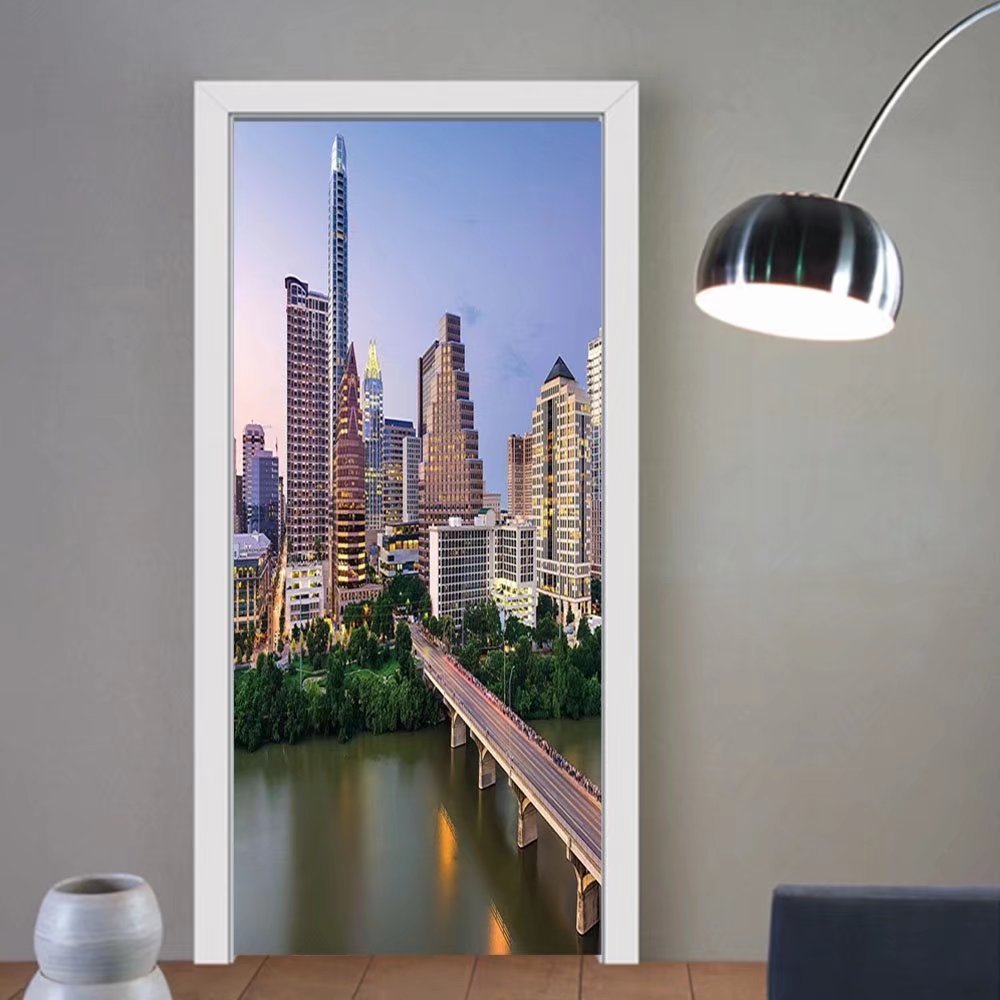 Gzhihine custom made 3d door stickers Modern Austin Texas American City Bridge over the Lake Skyscrapers USA Downtown Picture Multicolor For Room Decor 30x79