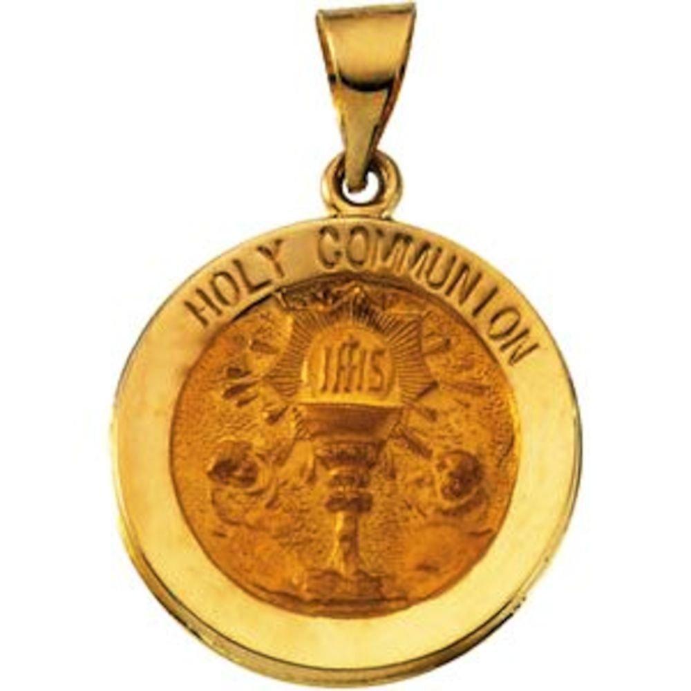 Bonyak Jewelry 14k White Gold 18 mm Hollow Holy Communion Medal
