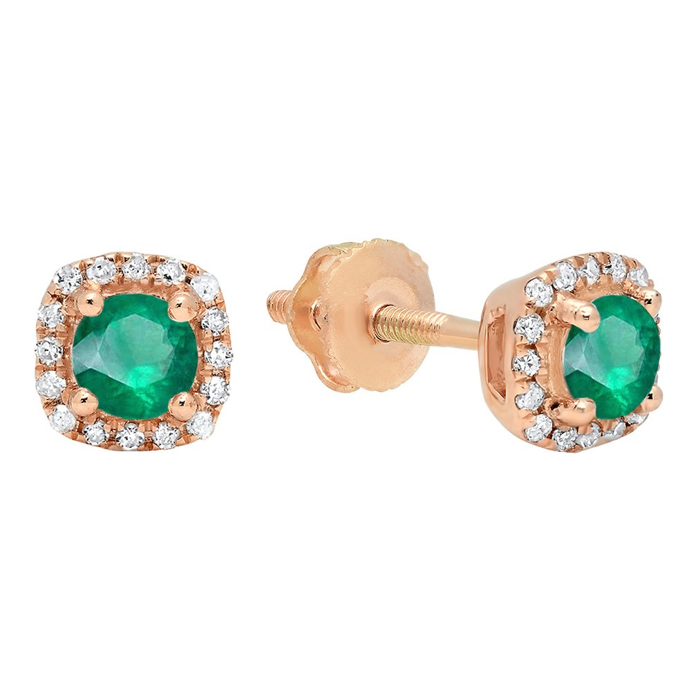 10K Rose Gold 3.5 MM Each Round Emerald & White Diamond Ladies Halo Style Stud Earrings