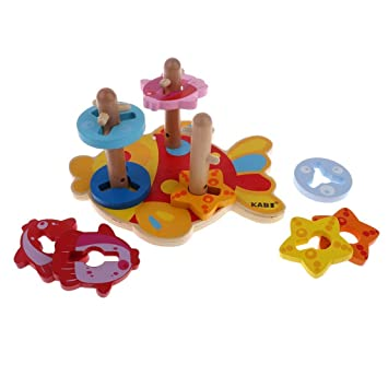 d8724dd60c0cc Wooden Montessori Shape Color Sorting Educational Toy Baby Toddler Learning  Activity Toys  Amazon.co.uk  Toys   Games