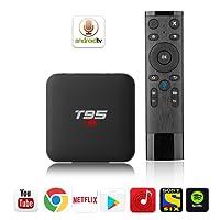 Android 8.0 T95 S1 Google Voice Set-Top-Box 2GB RAM + 16GB ROM 2.4GHz TV Box HD MPEG1/2/4,H.264, HD AVC/VC-1,RM/RMVB,Xvid/DivX3/4/5/6,RealVideo8/9/10 RMVB Smart TV Box