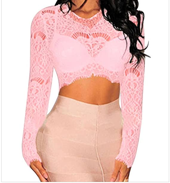 84b760ea3ff40 LEO BON Womens Pink Sheer Lace Long Sleeves Crop Top at Amazon Women s  Clothing store
