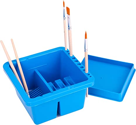 MyLifeUNIT Multifunction Paint Brush Basin with Brush Holder and Palette
