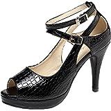 getmorebeauty Women's Snake Stripe Ankle Straps Dress Heeled Sandals