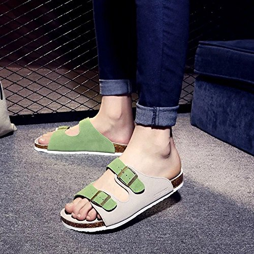 Xing Lin Sandali Di Cuoio Uomini Sandali Estate Antiscivolo E Piatto Ottimo Per Coppie Le Scarpe Da Spiaggia Cork Pantofole Cool Pantofole Femmina Standard 47 109 N Lana A Doppio M Verde
