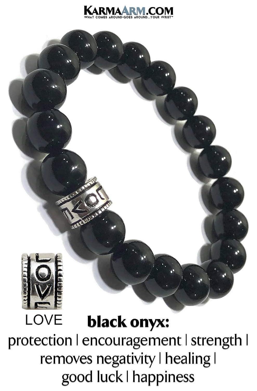 Courage: Black Onyx Yoga Chakra Meditation Bracelet KarmaArm Love Bracelet Gemstone Stretch Chakra Reiki Healing Energy Beaded Meditation Jewelry Love Bead